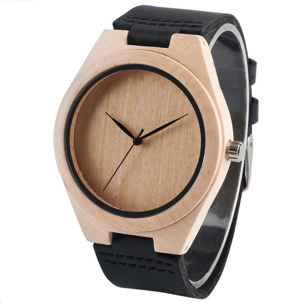Simple Wooden Faced Genuine Leather Strap Quartz Wristwatch