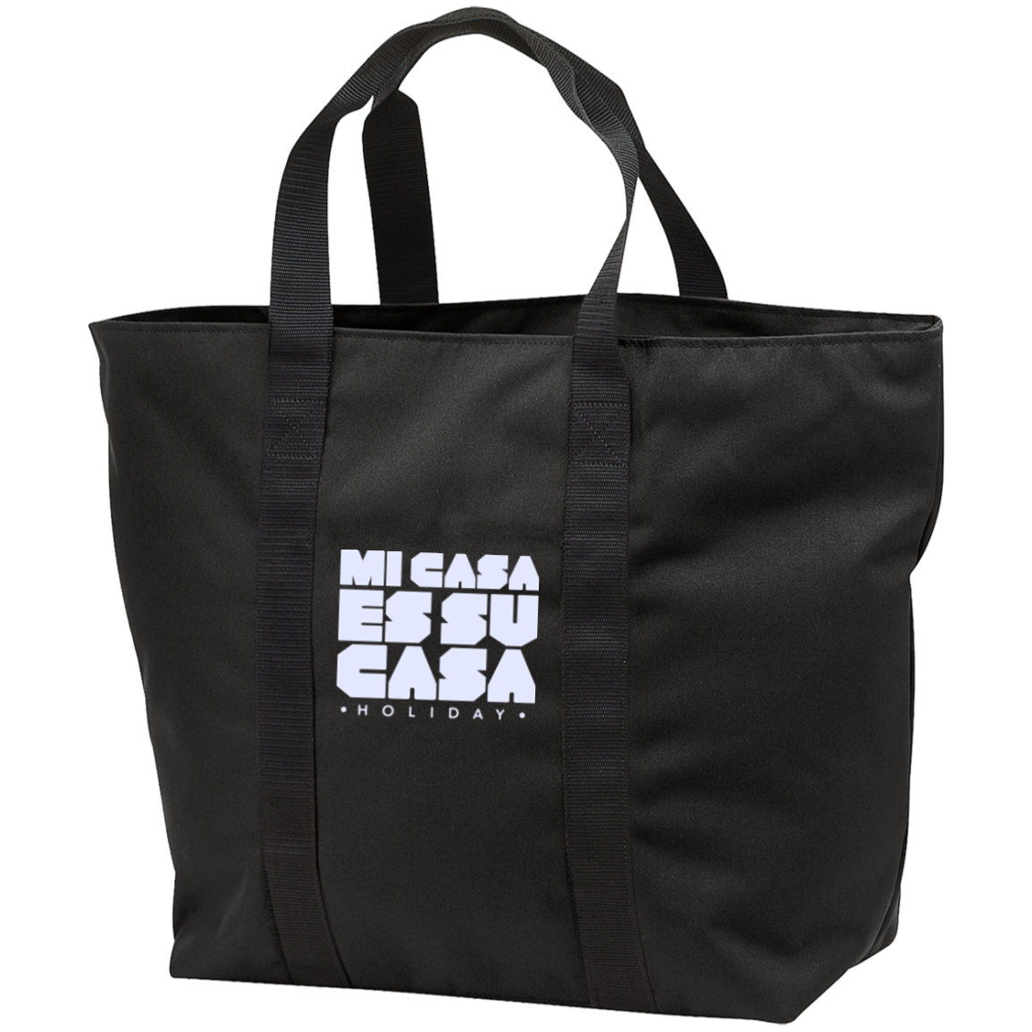 Classic Mi Casa Holiday All Purpose Tote Bag- White Embroidery