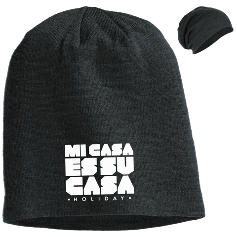 Mi Casa Holiday Embroidered Slouch Beanie- White