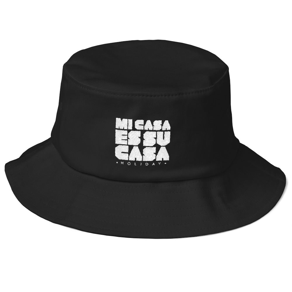 Classic Mi Casa Holiday Old School Bucket Hat- White Logo