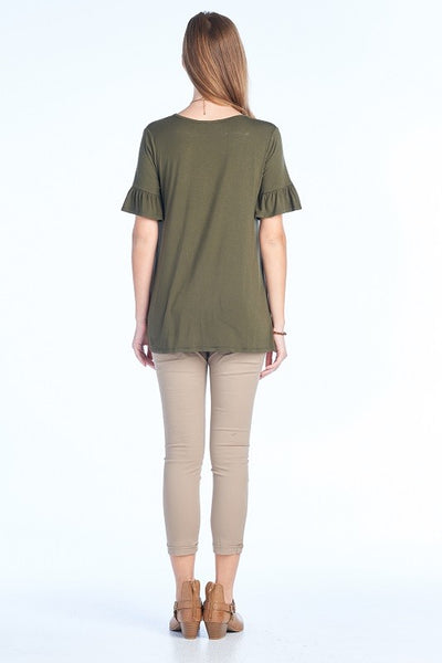 Front Knot Top Olive