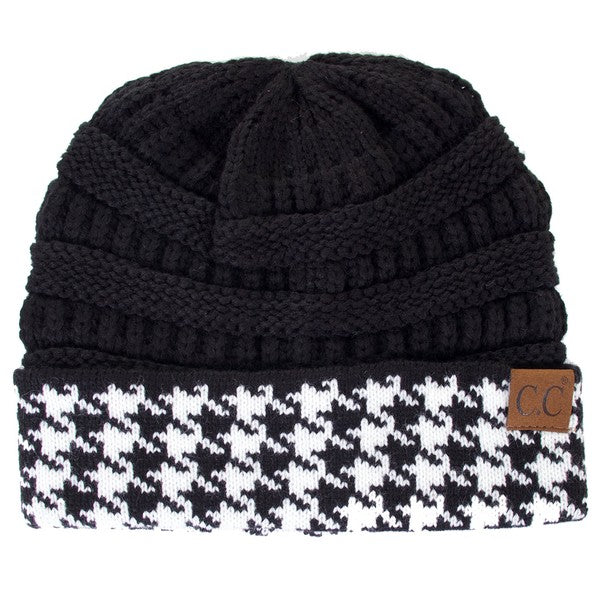CC knitted beanie with houndtooth cuff
