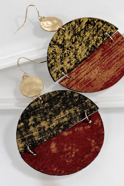 Wine colored Leather Earrings