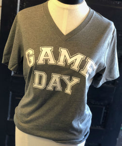 Grey Game Day Vneck Tshirt- L