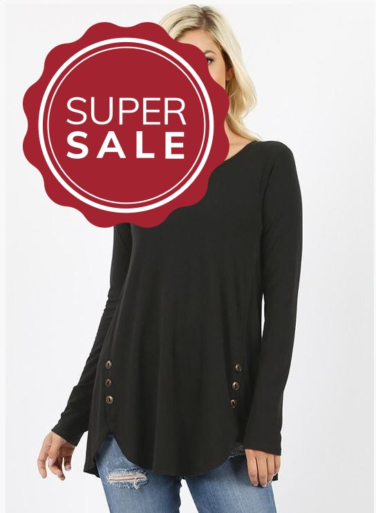 Sandy Black Button Tunic