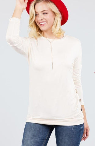 Whitney Ivory Side Button top