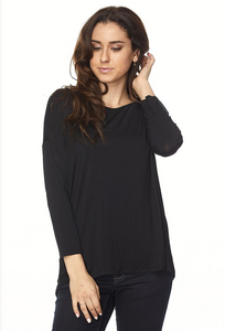 Plus Size High Low Tunic - Black