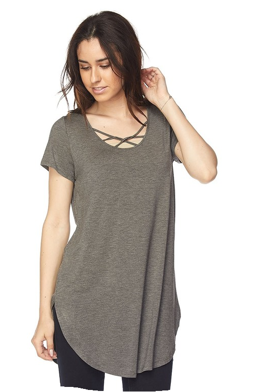 Plus Size Cage front tunic- Charcoal