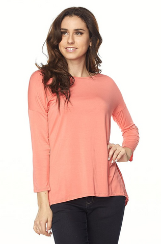 Plus Size High Low Tunic- Baby Pink