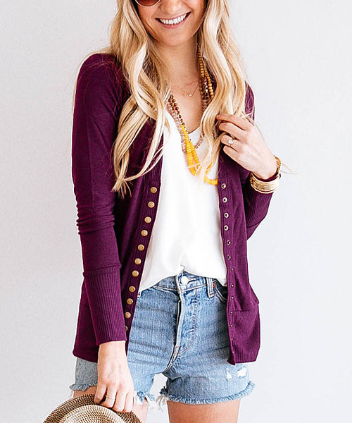 Long Sleeved Button Down Cardigan