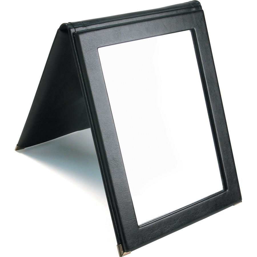 #1803 Black Faux Leather Folding Mirror With Snap For Optical Store, 7 1/4''W X 10''H | APEX International