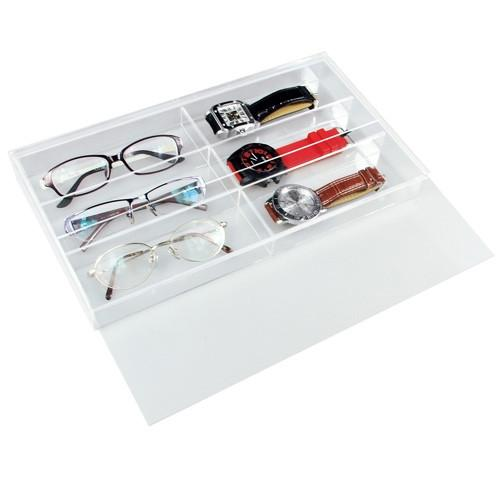 "#TR-6022TAC Acrylic Eyewear Case, 6 Frames, Slide Lid 13 1/2"" X 7 1/2"" X  2 1/8""