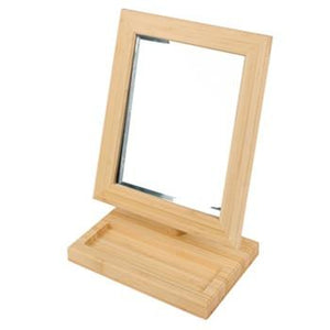 #MR-1813B-N Bamboo Style Counter Top Eyewear Mirror W/Tray