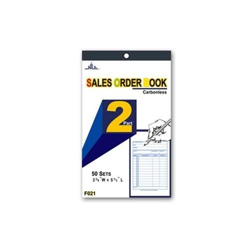 #F021 2-Part Sales Order Carbonless Book, 50 set, 3 3/8'' x 5 1/2''