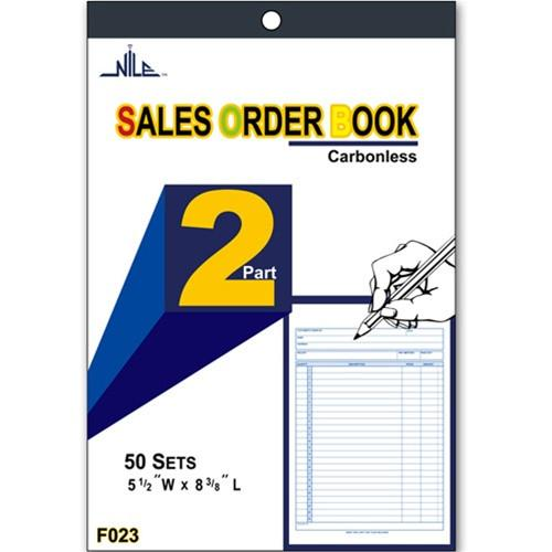 "#F023 2-Part Sales Order Carbonless Book, 50 set, 5 1/2"" x 8 3/8''"