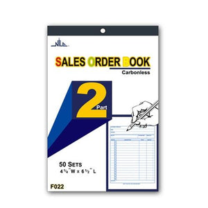 "#F022 2-Part Sales Order Carbonless Book, 50 Set, 4 1/2"" X 6 1/2''"