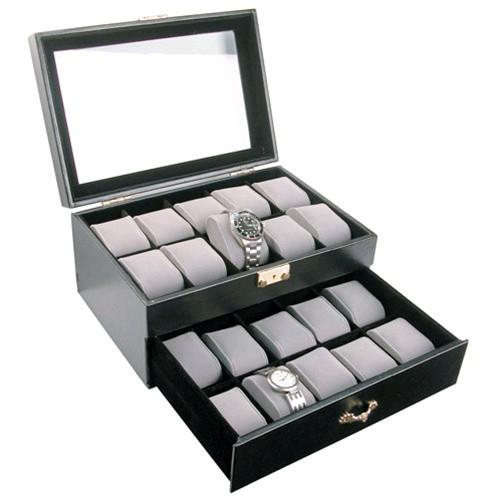 "#CBW230 Glass Top Watch Case w/lock, for 20 Watches, 11 5/8""W x 8""D x 5 1/2""H"