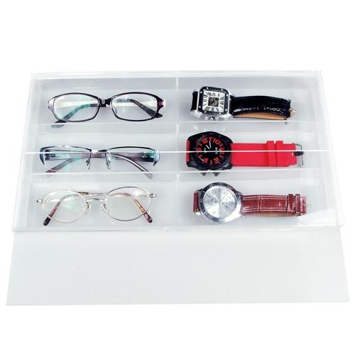 "#TR-6021TAC Acrylic Eyewear Case, 6 Frames, Slide Lid 13 1/2"" X 7 1/2"" X 1 3/8"" 