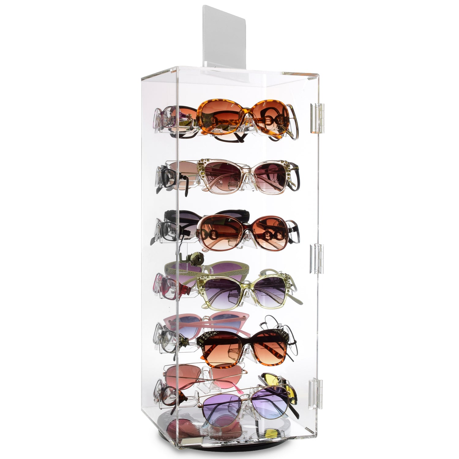 "#AC-124R Acrylic Security Lock Rotating Eyewear Case, 24 Frames. Top Mirror : 4""X6"""