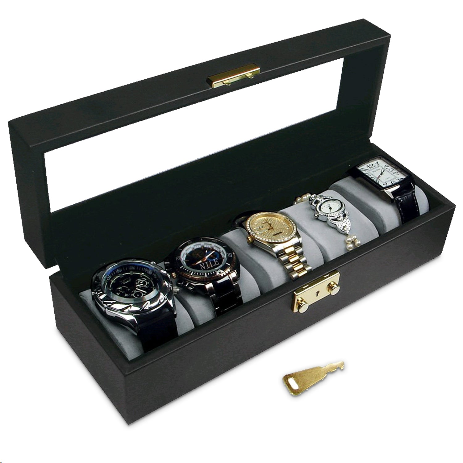 #CBW120 Glass Top Wooden Watch Case W/Key Lock - For 5 Watches, 11 5/8'' X 4'' X 3 1/4''H.