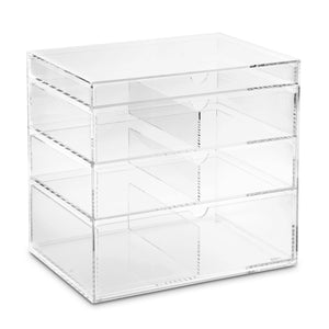 "#COM065 Large Clear Acrylic Storage Display Boxes. Clear. 10""W X 7""D X 9 1/4""H. Made In Taiwan"