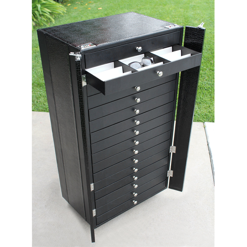 #D106-16 Eyewear Display And Storage Cabinet With Wheels (Include 16 Trays, Each Tray Hold 18 Frames. Total For 288 Frames) | APEX International
