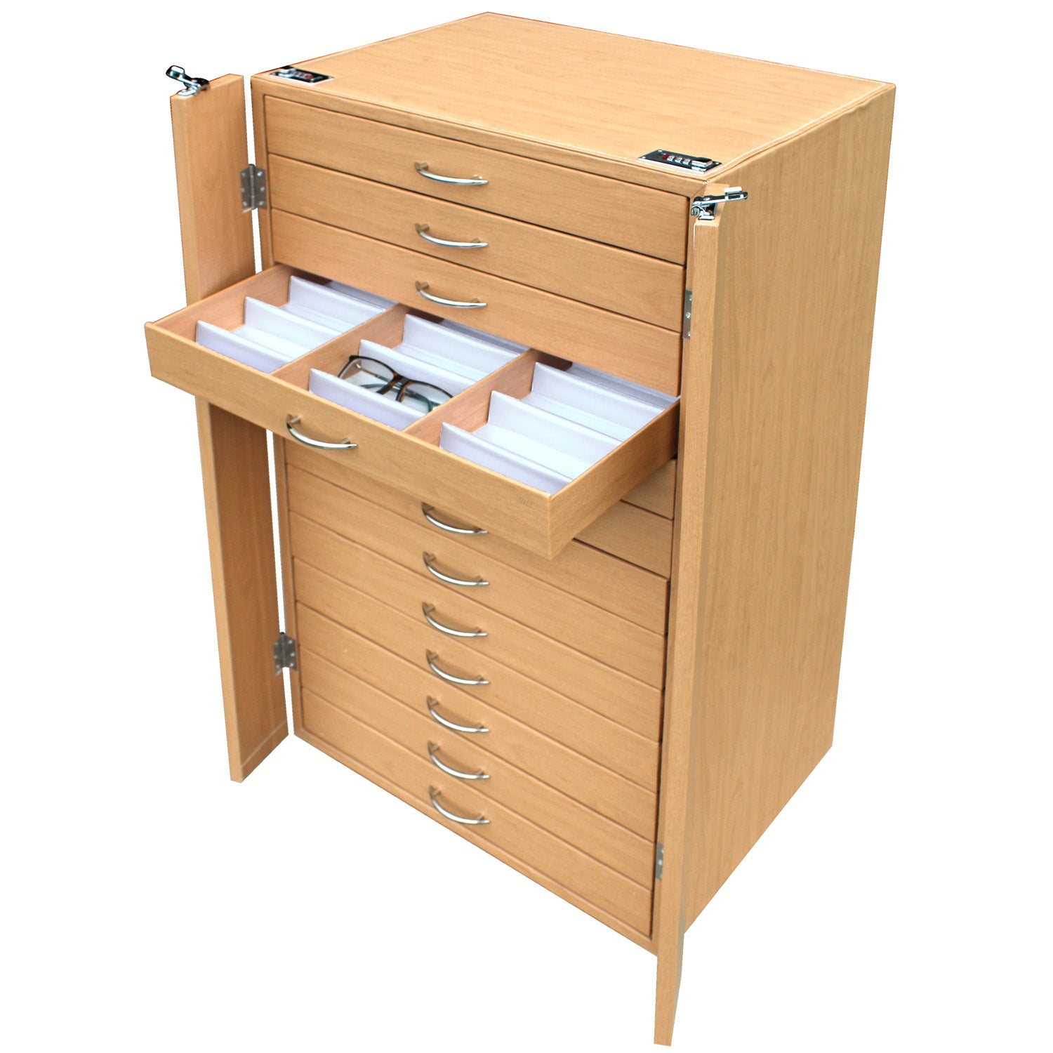 #D206-13LTBR  234 Pairs Frame Storage Cabinet- Eyewear & Sunglasses Display - with Lock and Wheels | APEX International