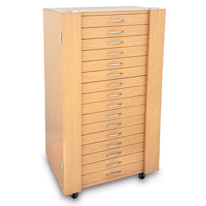 #D206-16LTBR  288 Pairs Frame Storage Cabinet- Eyewear & Optical glasses Display - with Lock and Wheels