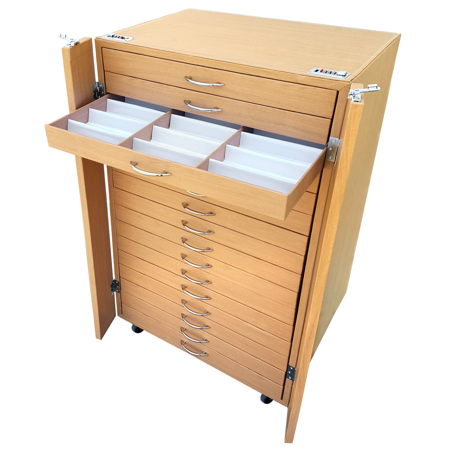 #D206-16LTBR  288 Pairs Frame Storage Cabinet- Eyewear & Optical glasses Display - with Lock and Wheels | APEX International