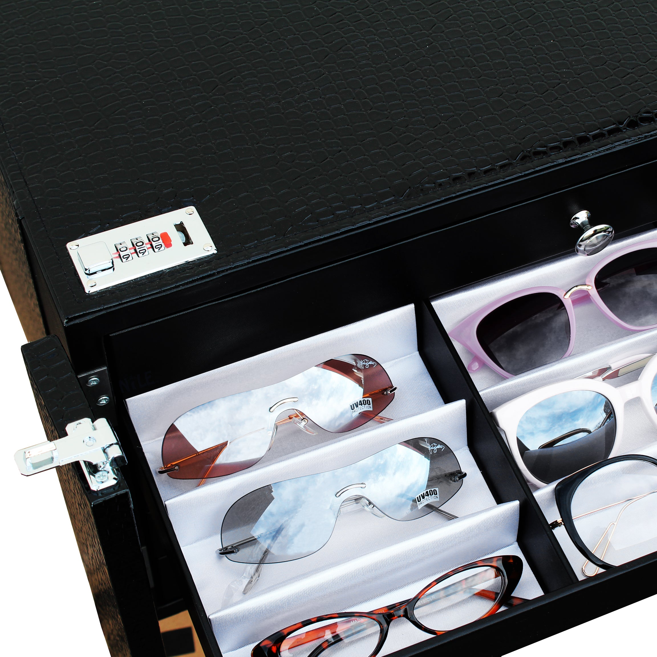 #D606-5LBK Eyewear Lockable Storage Cabinet, Include 5 Trays Holds 90 Frames