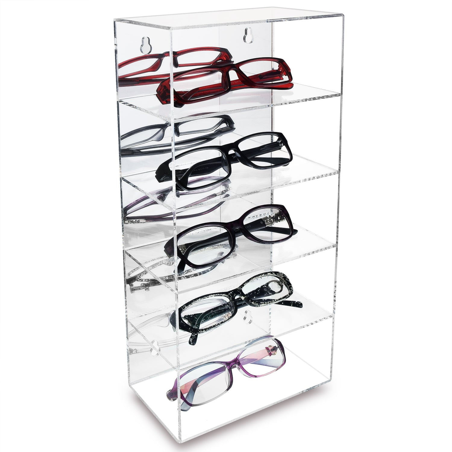 #DP320 Acrylic Five Shelves Eyewear Case Display with Mirror Back