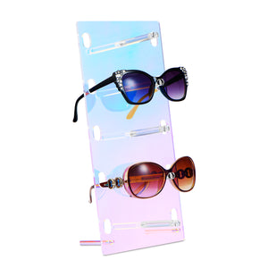 #DP605RM Neon Clear Mirrored Acrylic Sunglasses Organizer Eyewear Holder Stand
