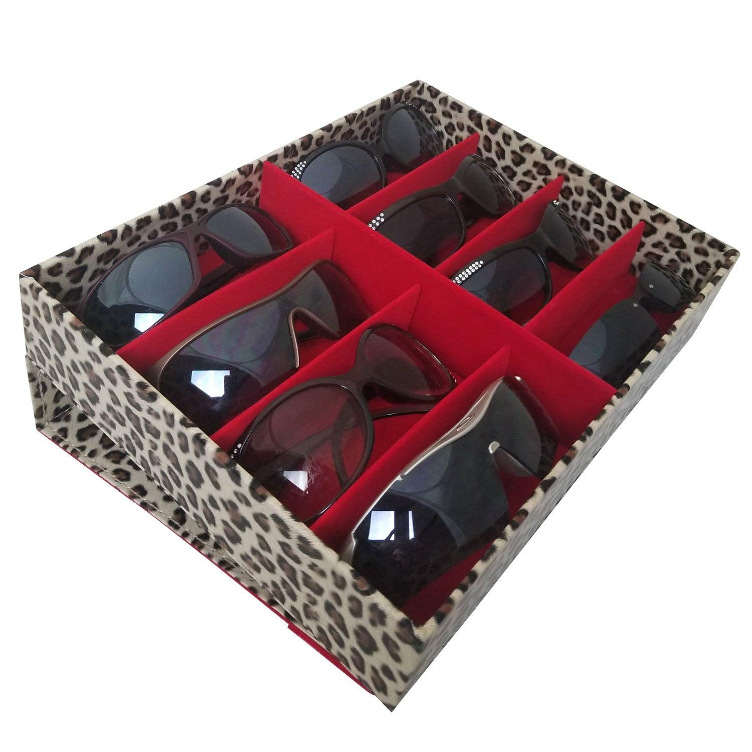 "#TR-1608BC-LD Leopard Pattern  Eyewear Tray For Large Sunglasses. 8 Frames, 12 3/4"" X 9 3/4"" X 2 1/4""H 