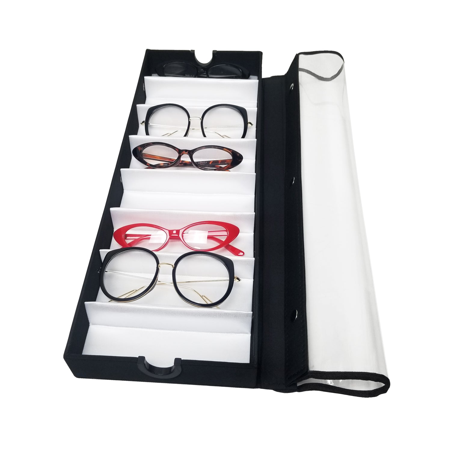 #TR-18BC View Top Eyewear Case For 8 Pairs Small To Medium Eyewears. With Clear Vinyl Cover On Top.