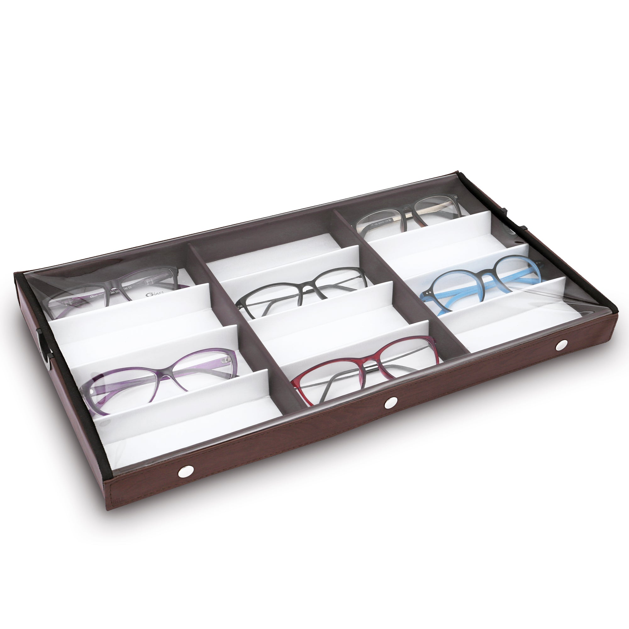 #TR-34BCS-WDBR Eyewears Organizer Box - 12 Compartments Eyewear Case for Small or Medium Eyeglasses