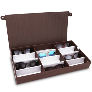 #TR-34BFL-WDBR Eyewear Storage Organizer Box - 12 Slots Sunglasses Box Display