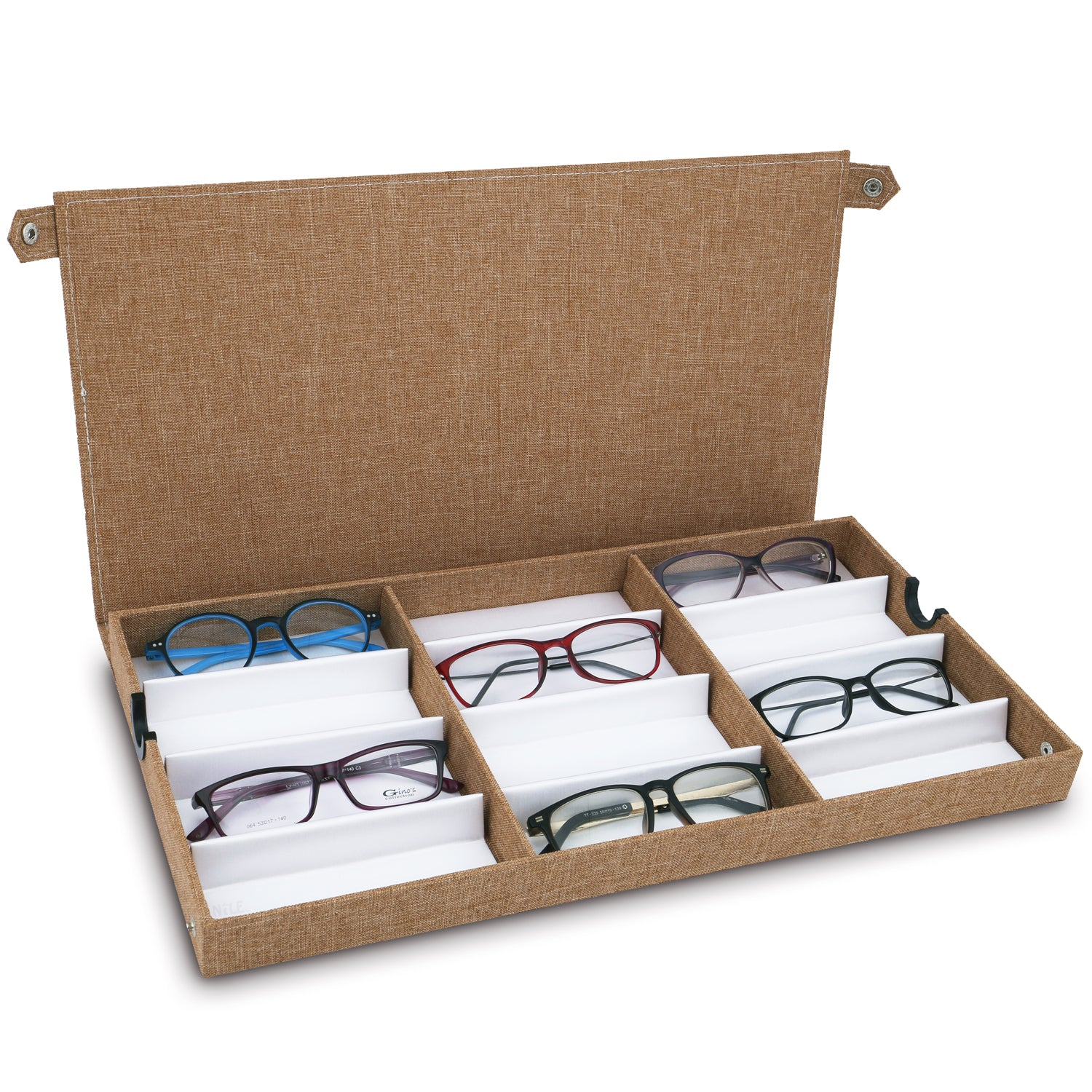 #TR-34BFS-LNBR Eyewears Organizer Box - 12 Slots Small or Medium Eyeglasses Display