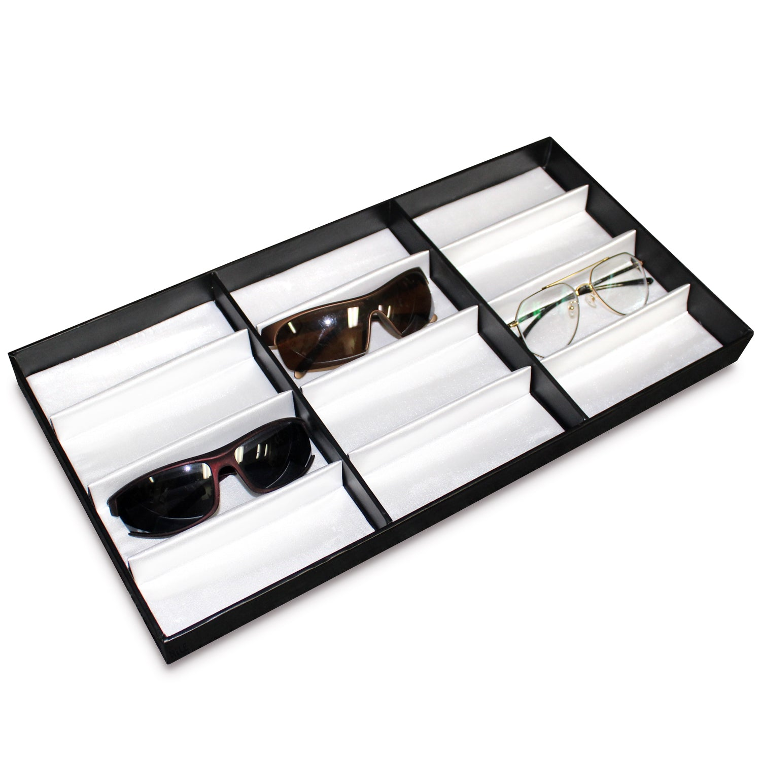 "#TR-34BP (BK) Leatherette Wooden Eyewear  Tray 19"" x 9 3/4""x 1 1/4""H. For Up To 12 Frames. 