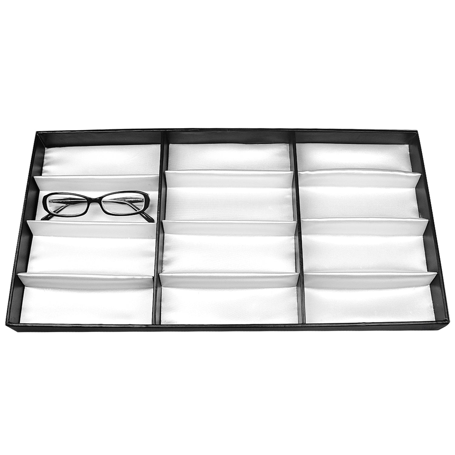 "#TR-34BP Leatherette Wooden Eyewear  Tray 19"" x 9 3/4""x 1 1/4""H. For Up To 12 Frames. 