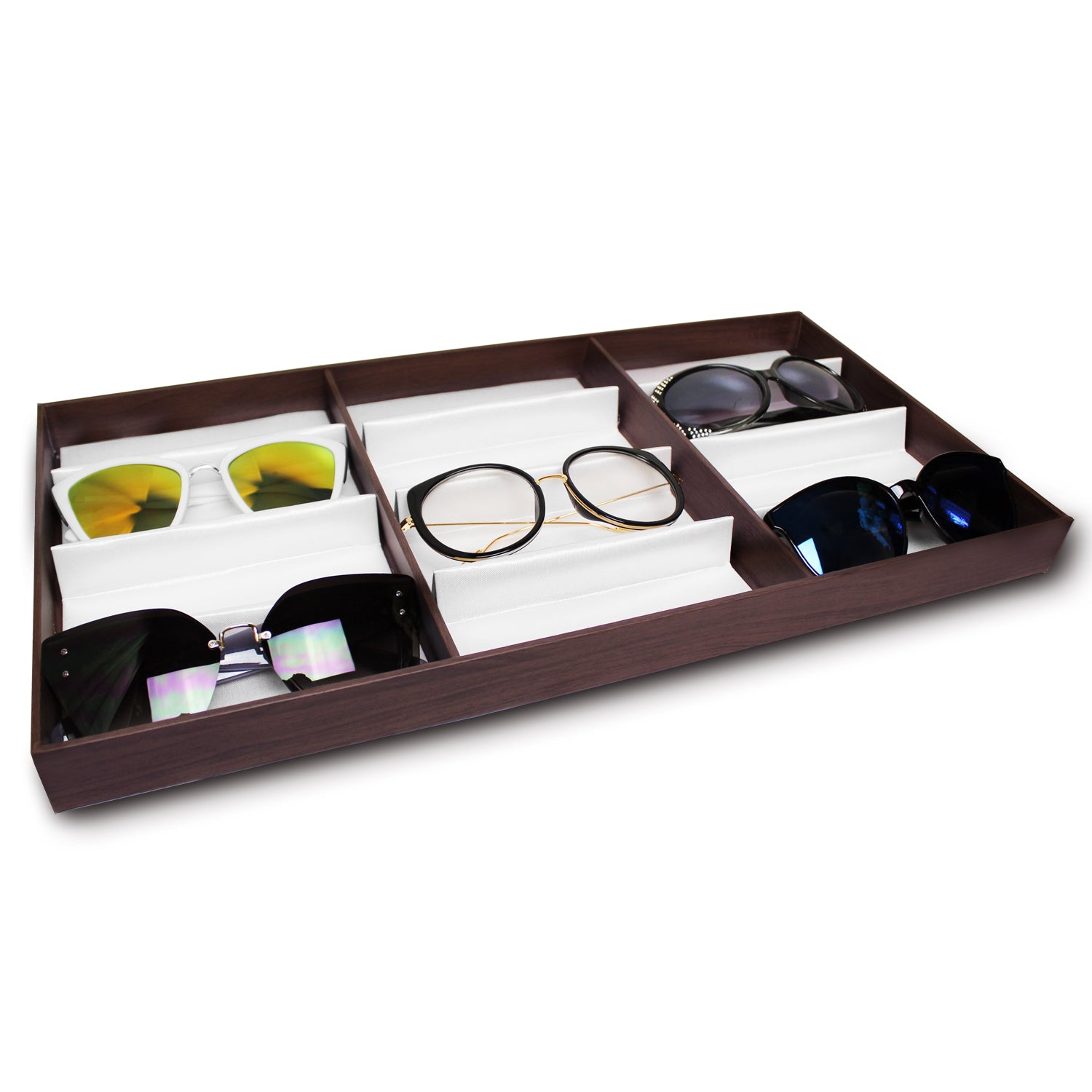 #TR-34BP-WDBR Eyewear Storage Organizer Box -12 Slots for Small or Medium Glasses Display Case