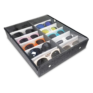 #TR-34VCL-LNG Eyewear Storage Organizer Box -12 Slots Sunglasses Box Display Tray Case Stand