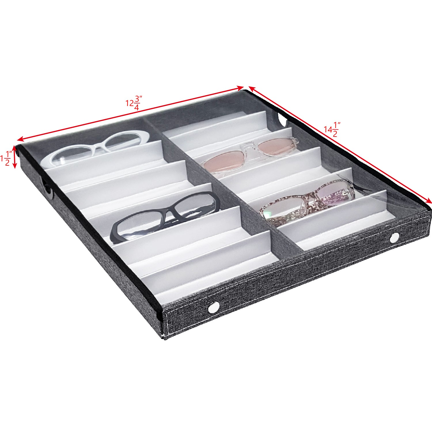 #TR-34VCS-LNG Eyewears Organizer Box - 12 Slots Sunglasses Box Display Tray with Clear Lid