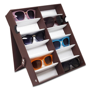 #TR-34VFL-WDBR Eyewear Storage Organizer Box -12 Slots Sunglasses Box Display