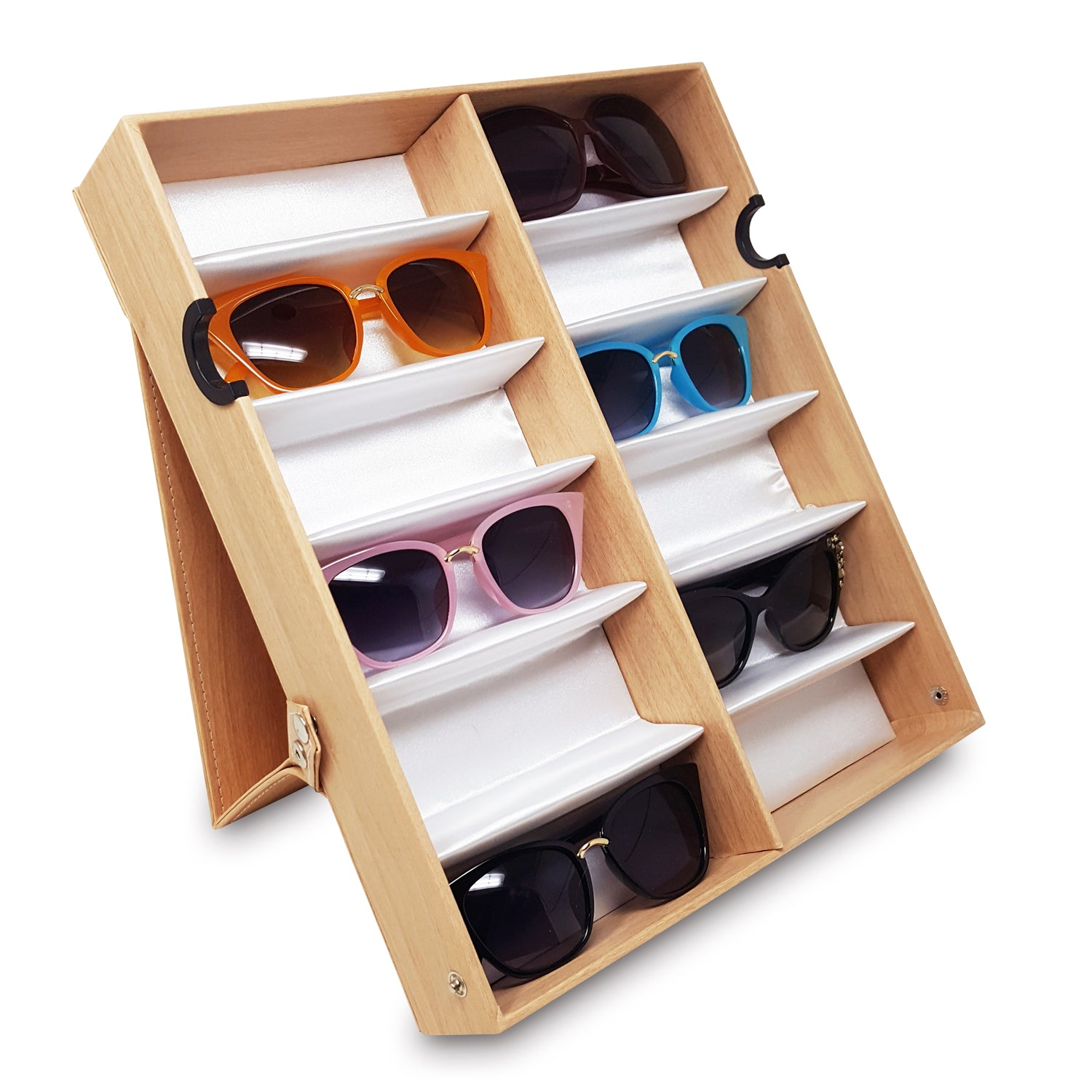 #TR-34VFL-WDOK Eyewear Storage Organizer Box -12 Slots Sunglasses Box Display