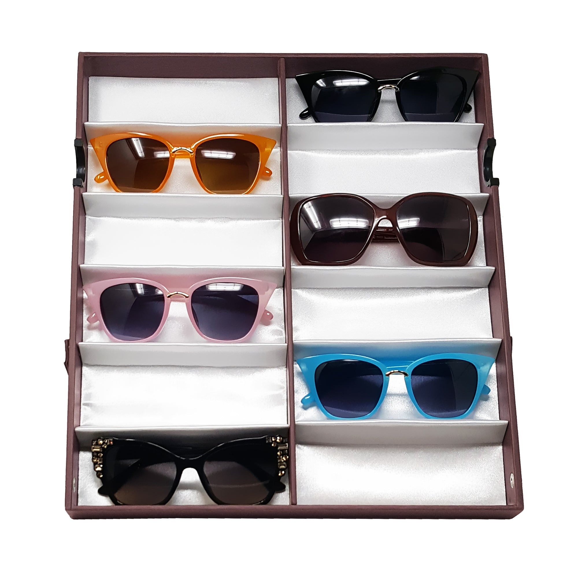 #TR-34VFS-WDBR Eyewear Storage Organizer Box -12 Slots Sunglasses Box Display