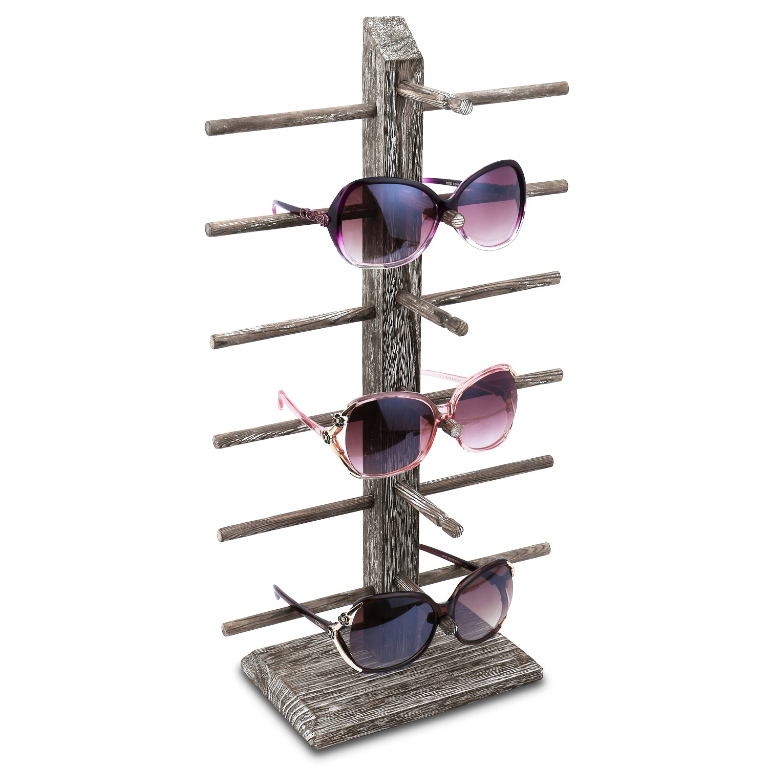 #WD-06CF Wooden Eyeglass Rack for Showcasing 6 Pairs of Glasses