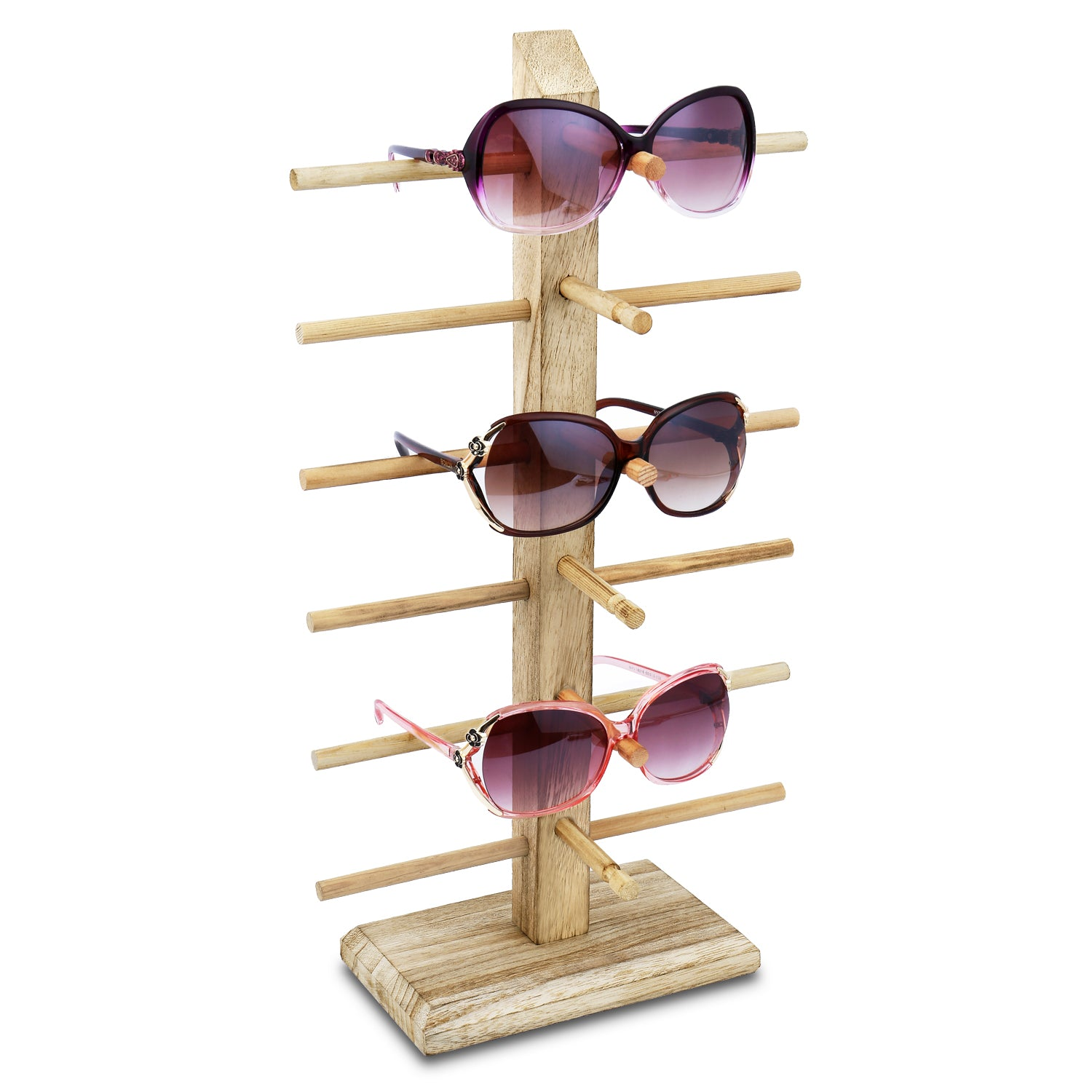 #WD-06OK Wooden Eyeglass Rack for Showcasing 6 Pairs of Glasses