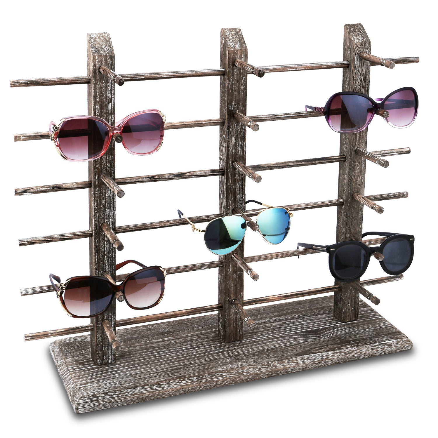 #WD-18CF Wooden Eyeglass Rack for Showcasing 18 Pairs of Glasses
