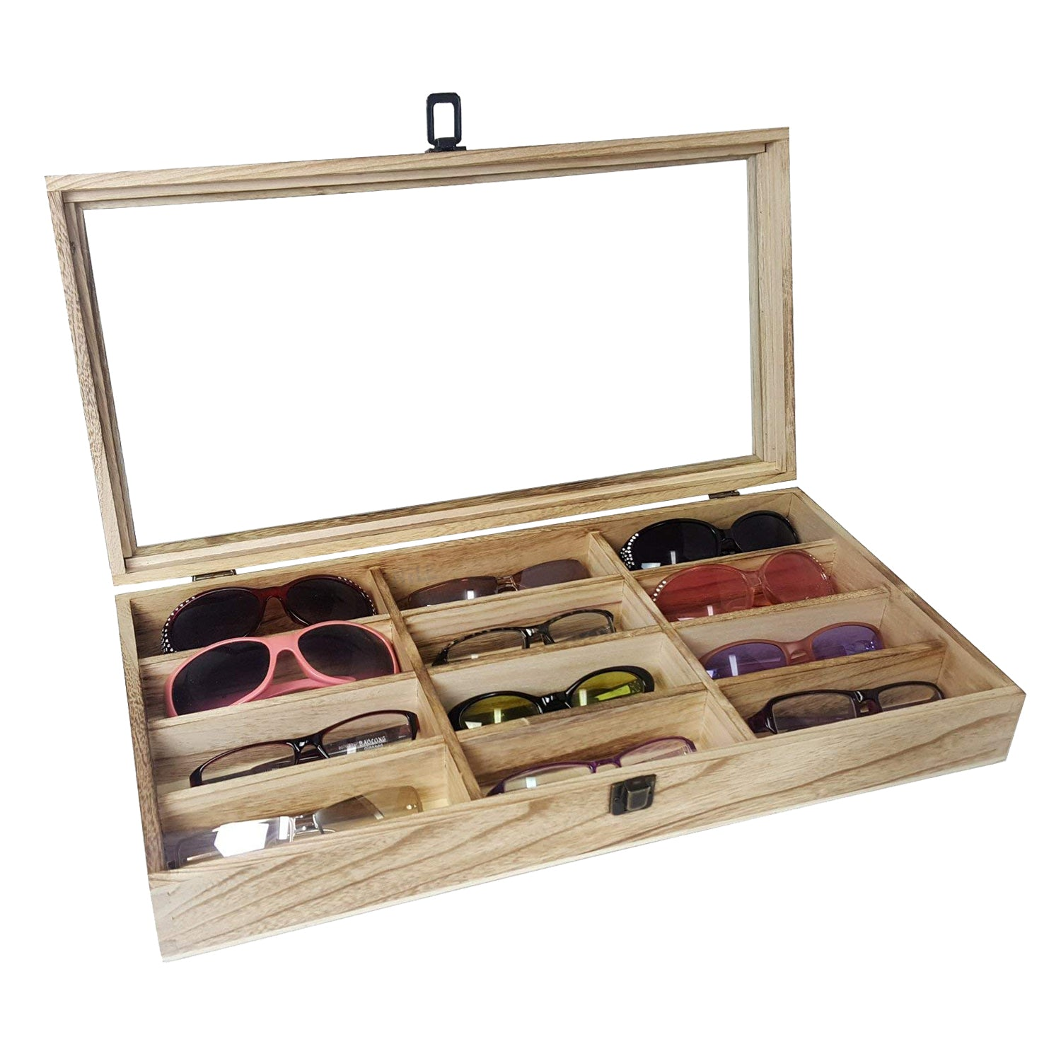 #WDEY515 Glass Top Antique Wooden 12 Eyewear Tray