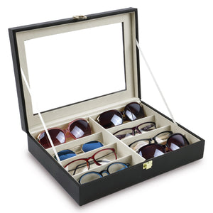 "#YET-1801 Deluxe Leatherette Eyewear Case For 8 Frames, 13"" X 9 1/2"" X 2 1/4""H"